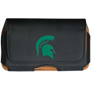 Michigan St. Spartans Cell Phone Pouch - Keep you personal electronics safe with this Michigan St. Spartans Cell Phone Pouch horizontal protective case with belt clip and easy flip front. This Michigan St. Spartans Cell Phone Pouch fits a variety of personal electronics like blackberries, Nano classics, and iTouch. Thank you for shopping with CrazedOutSports.com
