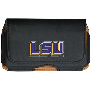LSU Tigers Cell Pouch - Keep you personal electronics safe with this horizontal LSU Tigers protective case with belt clip and easy flip front. LSU Tigers Cell Pouch fits a variety of personal electronics like blackberries, Nano classics, and iTouch. Thank you for shopping with CrazedOutSports.com
