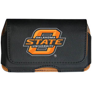 Oklahoma St. Cell Pouch - Keep you personal electronics safe with this horizontal protective case with belt clip and easy flip front. Fits a variety of personal electronics like blackberries, Nano classics, and iTouch. Thank you for shopping with CrazedOutSports.com