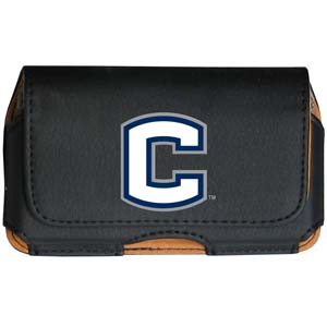 UCONN Cell Pouch - Keep you personal electronics safe with this horizontal protective case with belt clip and easy flip front. Fits a variety of personal electronics like blackberries, Nano classics, and iTouch. Thank you for shopping with CrazedOutSports.com