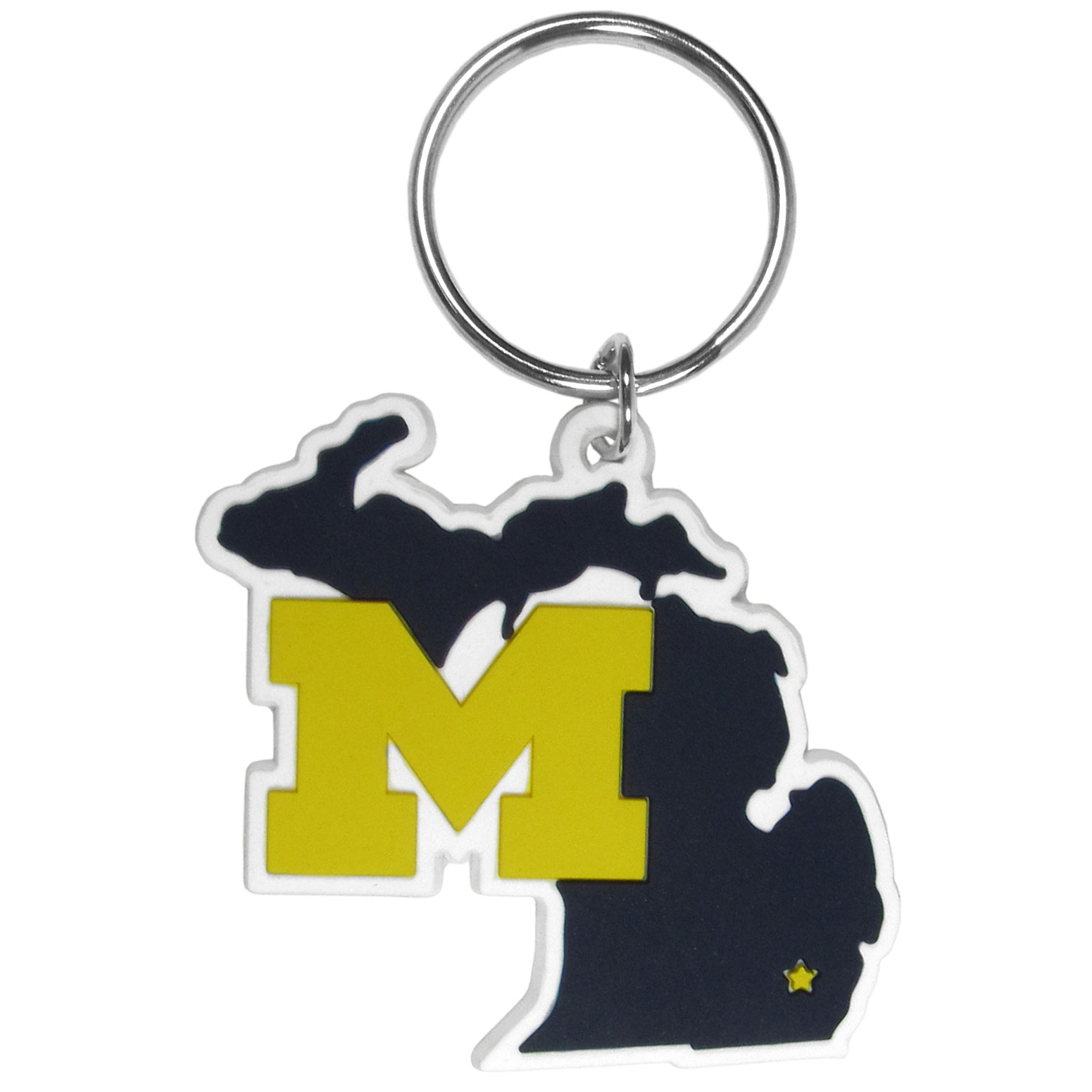 Michigan Wolverines Home State Flexi Key Chain - Our flexible Michigan Wolverines key chains are a fun way to carry your team with you. The pliable rubber material is extremely durable and is the layered colors add a great 3D look to the key chain. This is really where quality and a great price meet to create a true fan favorite.