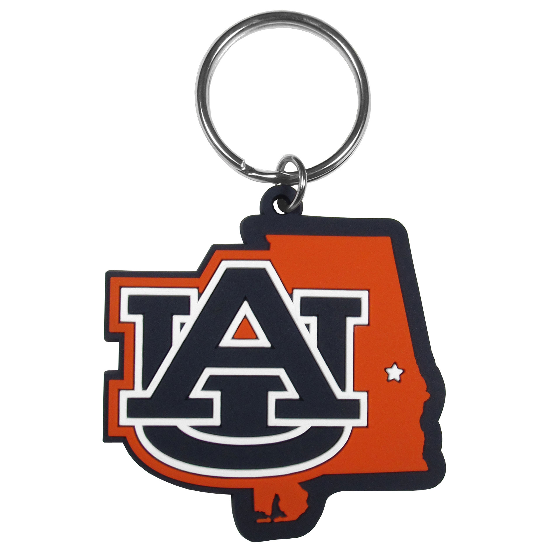 Auburn Tigers Home State Flexi Key Chain - Our flexible Auburn Tigers key chains are a fun way to carry your team with you. The pliable rubber material is extremely durable and the layered colors add a great 3D look to the key chain. This is really where quality and a great price meet to create a true fan favorite.