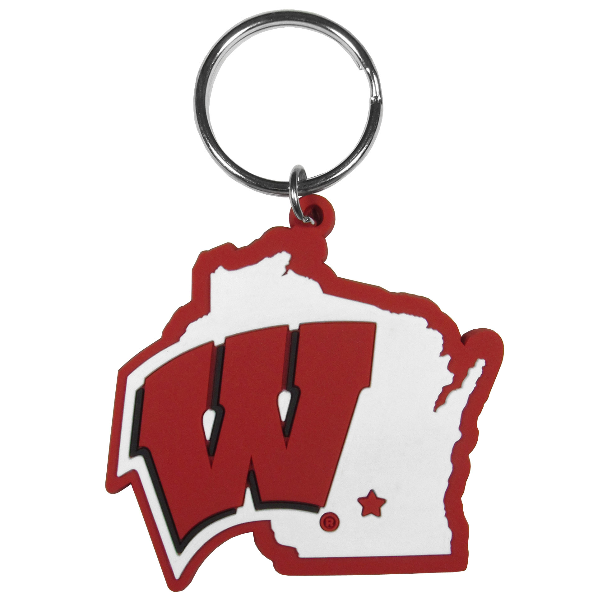Wisconsin Badgers Home State Flexi Key Chain - Our flexible Wisconsin Badgers key chains are a fun way to carry your team with you. The pliable rubber material is extremely durable and the layered colors add a great 3D look to the key chain. This is really where quality and a great price meet to create a true fan favorite.