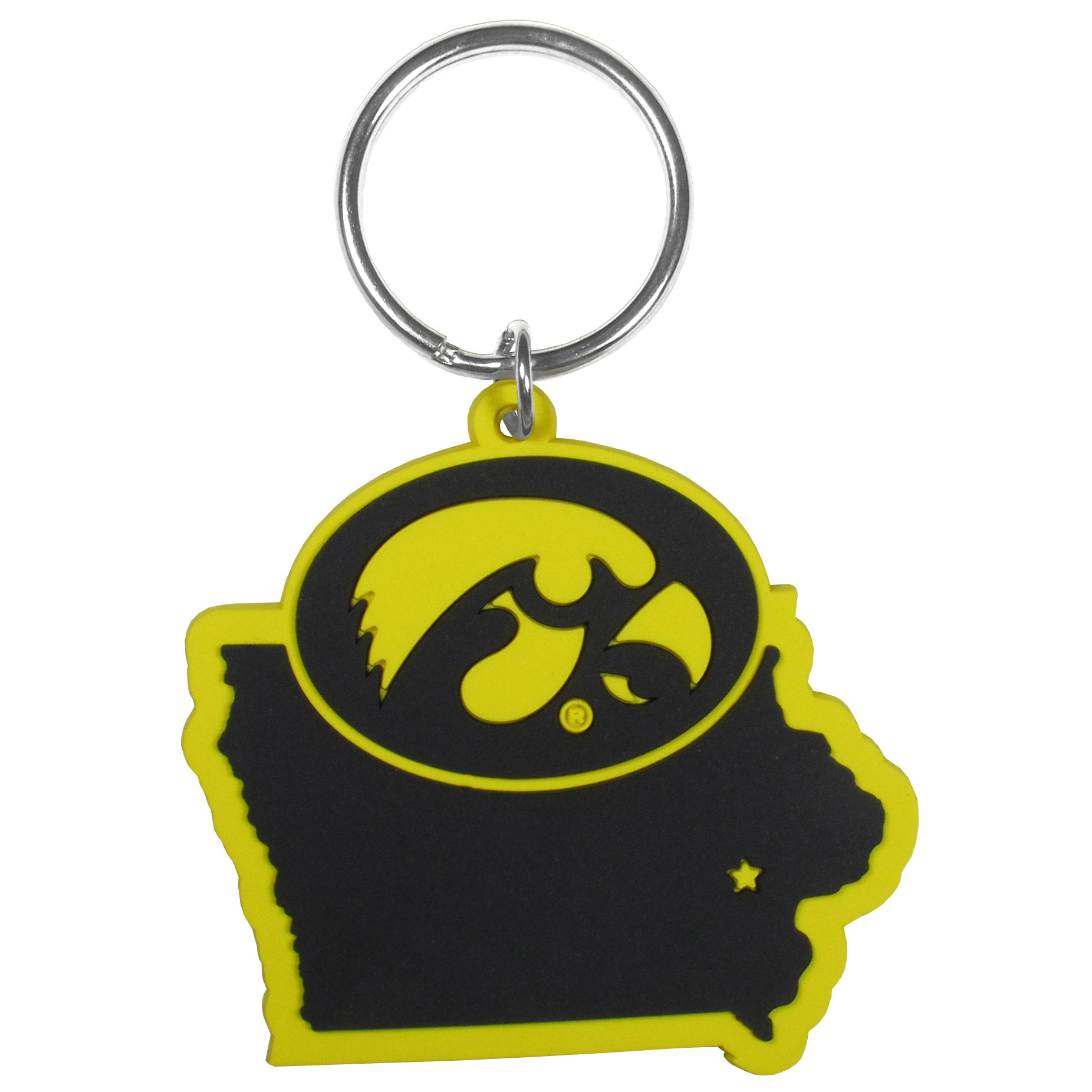Iowa Hawkeyes Home State Flexi Key Chain - Our flexible Iowa Hawkeyes key chains are a fun way to carry your team with you. The pliable rubber material is extremely durable and the layered colors add a great 3D look to the key chain. This is really where quality and a great price meet to create a true fan favorite.
