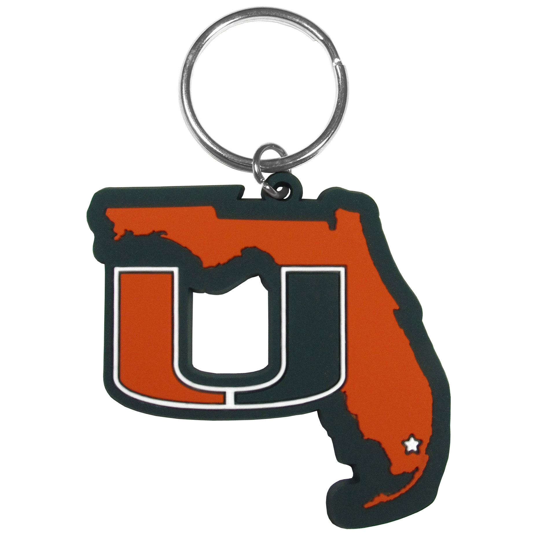 Miami Hurricanes Home State Flexi Key Chain - Our flexible Miami Hurricanes key chains are a fun way to carry your team with you. The pliable rubber material is extremely durable and the layered colors add a great 3D look to the key chain. This is really where quality and a great price meet to create a true fan favorite.