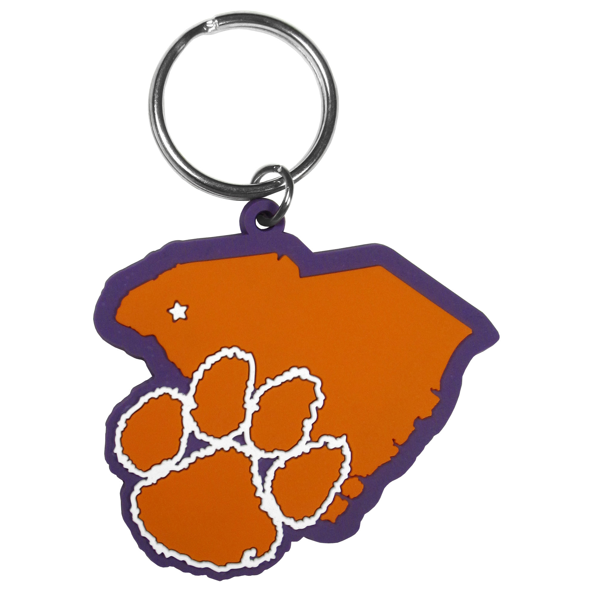 Clemson Tigers Home State Flexi Key Chain - Our flexible Clemson Tigers key chains are a fun way to carry your team with you. The pliable rubber material is extremely durable and the layered colors add a great 3D look to the key chain. This is really where quality and a great price meet to create a true fan favorite.