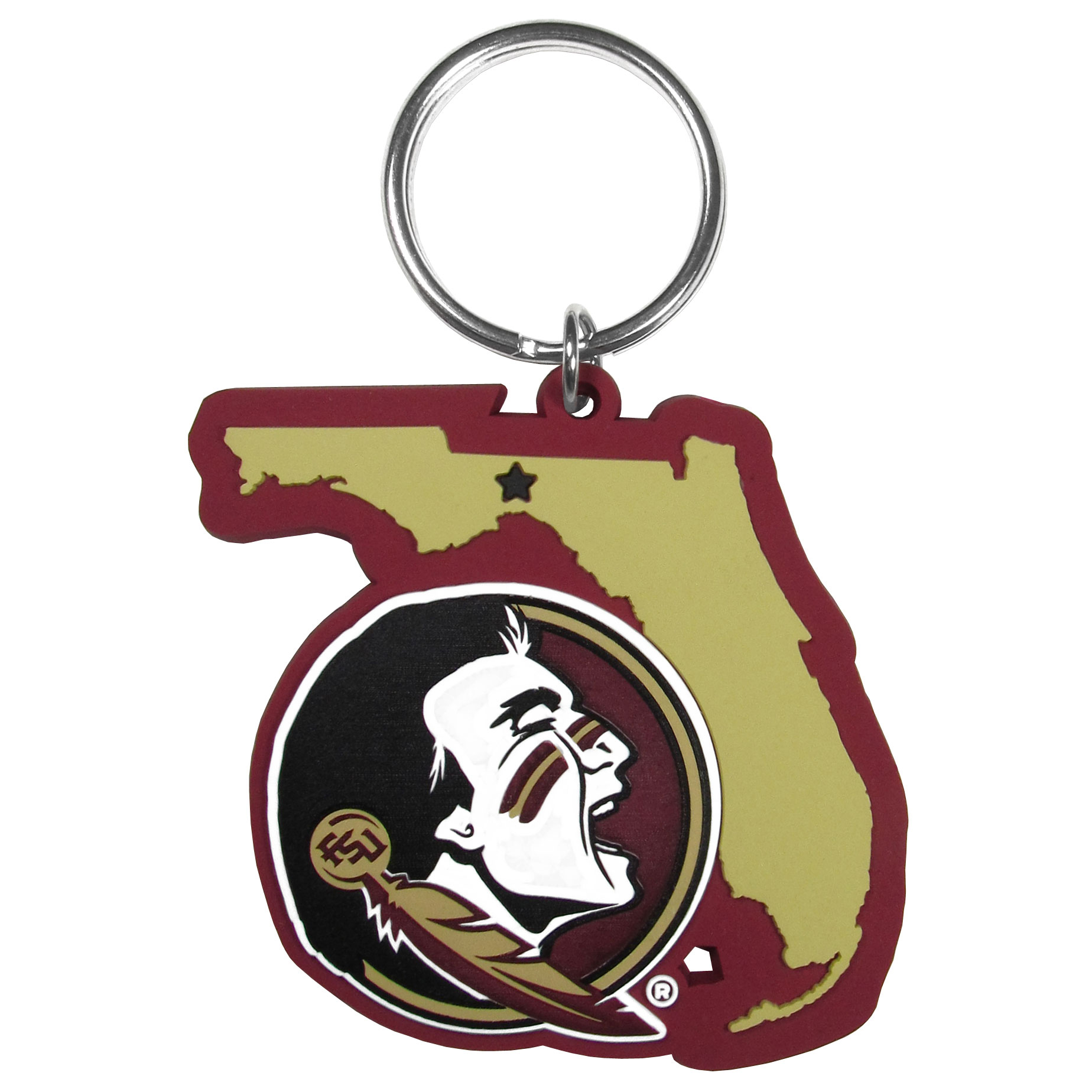 Florida St. Seminoles Home State Flexi Key Chain - Our flexible Florida St. Seminoles key chains are a fun way to carry your team with you. The pliable rubber material is extremely durable and the layered colors add a great 3D look to the key chain. This is really where quality and a great price meet to create a true fan favorite.