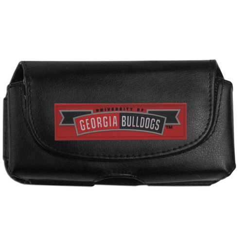 Georgia Bulldogs Smart Phone Pouch - These officially licensed Georgia Bulldogs collegiate smart phone pouches are a great way to protect your phone. Their magnet flip top securely hold the phone while allowing for quick access to your device. The swivel belt clip allows you to easily attach the pouch to belts, backpack or purses. The pouch features an brightly colored school logo on the front of the pouch. Thank you for shopping with CrazedOutSports.com