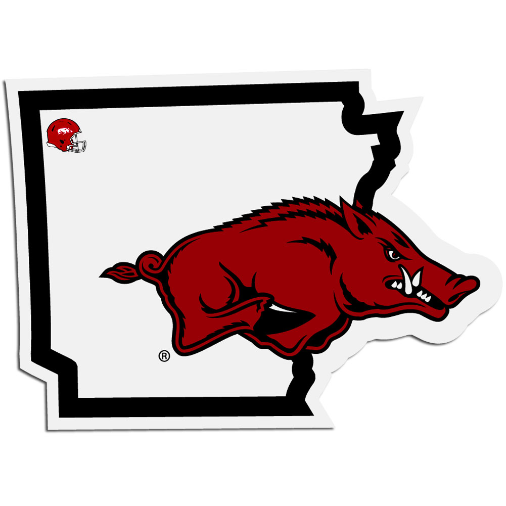 Arkansas Razorbacks Home State Decal - It's a home state decal with a sporty twist! This Arkansas Razorbacks decal feature the team logo over a silhouette of the state in team colors and a heart marking the home of the team. The decal is approximately 5 inches on repositionable vinyl.