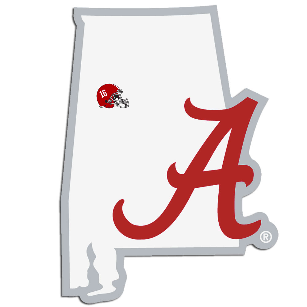 Alabama Crimson Tide Home State Decal - It's a home state decal with a sporty twist! This Alabama Crimson Tide decal feature the team logo over a silhouette of the state in team colors and a heart marking the home of the team. The decal is approximately 5 inches on repositionable vinyl.