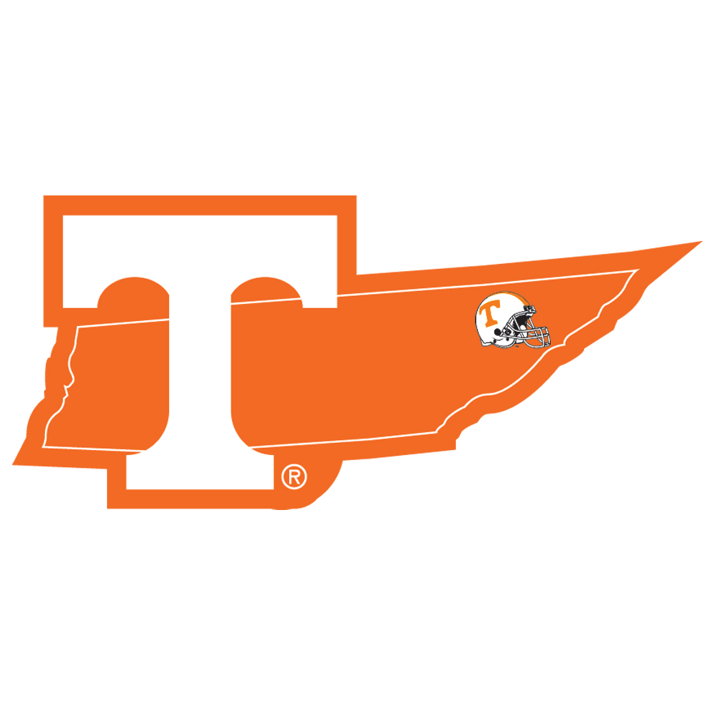 Tennessee Volunteers Home State Decal - It's a home state decal with a sporty twist! This Tennessee Volunteers decal feature the team logo over a silhouette of the state in team colors and a heart marking the home of the team. The decal is approximately 5 inches on repositionable vinyl.