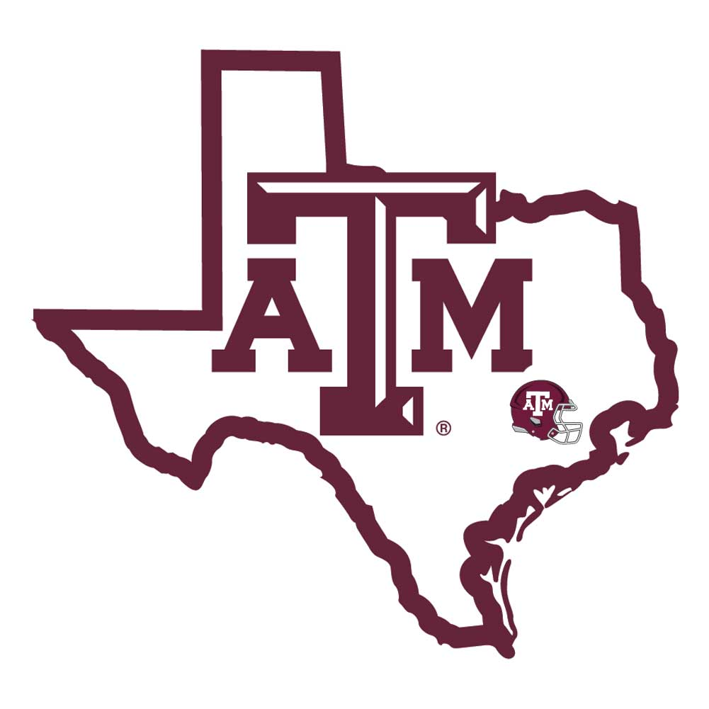 Texas A and M Aggies Home State Decal - It's a home state decal with a sporty twist! This Texas A & M Aggies decal feature the team logo over a silhouette of the state in team colors and a heart marking the home of the team. The decal is approximately 5 inches on repositionable vinyl.