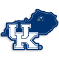 Kentucky Wildcats Home State Decal - It's a home state decal with a sporty twist! This Kentucky Wildcats decal feature the team logo over a silhouette of the state in team colors and a heart marking the home of the team. The decal is approximately 5 inches on repositionable vinyl.