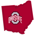 Ohio St. Buckeyes Home State Decal - It's a home state decal with a sporty twist! This Ohio St. Buckeyes decal feature the team logo over a silhouette of the state in team colors and a heart marking the home of the team. The decal is approximately 5 inches on repositionable vinyl.