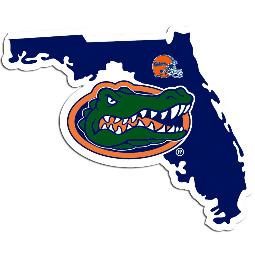 Florida Gators Home State Decal - It's a home state decal with a sporty twist! This Florida Gators decal feature the team logo over a silhouette of the state in team colors and a heart marking the home of the team. The decal is approximately 5 inches on repositionable vinyl.