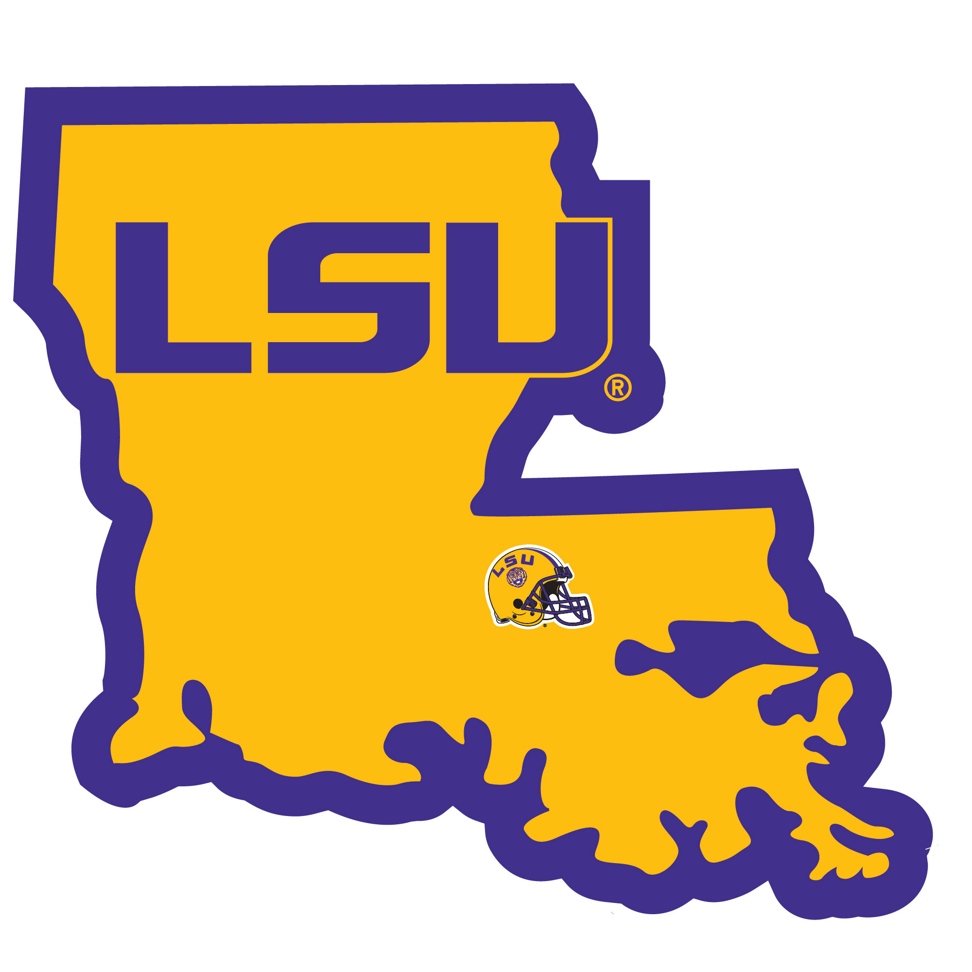 LSU Tigers Home State Decal - It's a home state decal with a sporty twist! This LSU Tigers decal feature the team logo over a silhouette of the state in team colors and a heart marking the home of the team. The decal is approximately 5 inches on repositionable vinyl.