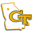 Georgia Tech Yellow Jackets Home State Decal - It's a home state decal with a sporty twist! This Georgia Tech Yellow Jackets decal feature the team logo over a silhouette of the state in team colors and a heart marking the home of the team. The decal is approximately 5 inches on repositionable vinyl.