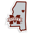 Mississippi St. Bulldogs Home State Decal - It's a home state decal with a sporty twist! This Mississippi St. Bulldogs decal feature the team logo over a silhouette of the state in team colors and a heart marking the home of the team. The decal is approximately 5 inches on repositionable vinyl.