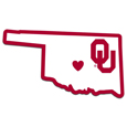 Oklahoma Sooners Home State Decal - It's a home state decal with a sporty twist! This Oklahoma Sooners decal feature the team logo over a silhouette of the state in team colors and a heart marking the home of the team. The decal is approximately 5 inches on repositionable vinyl.