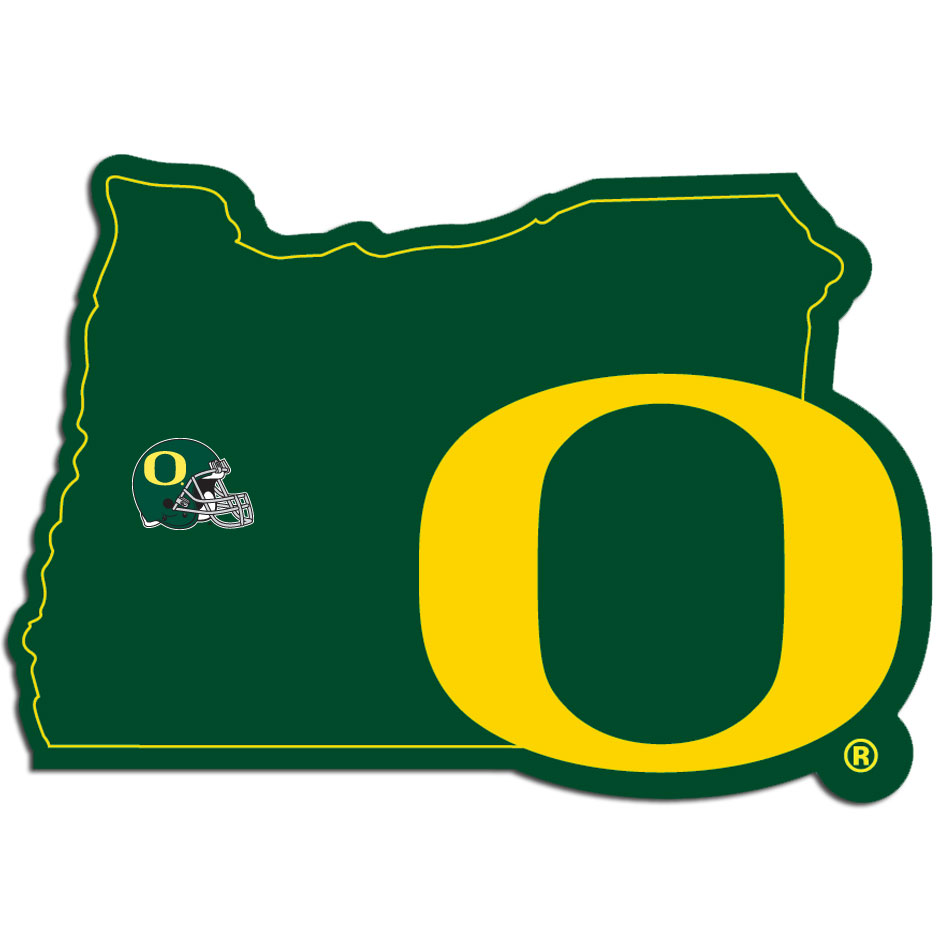 Oregon Ducks Home State Decal - It's a home state decal with a sporty twist! This Oregon Ducks decal feature the team logo over a silhouette of the state in team colors and a heart marking the home of the team. The decal is approximately 5 inches on repositionable vinyl.