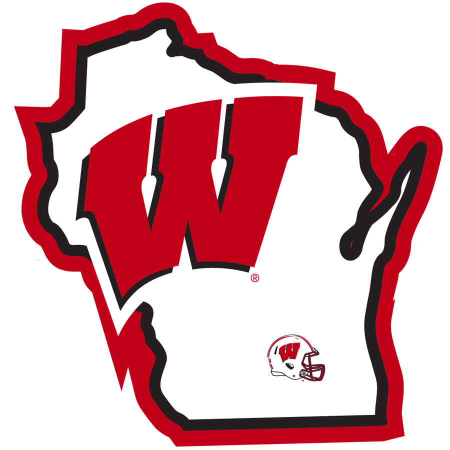 Wisconsin Badgers Home State Decal - It's a home state decal with a sporty twist! This Wisconsin Badgers decal feature the team logo over a silhouette of the state in team colors and a heart marking the home of the team. The decal is approximately 5 inches on repositionable vinyl.