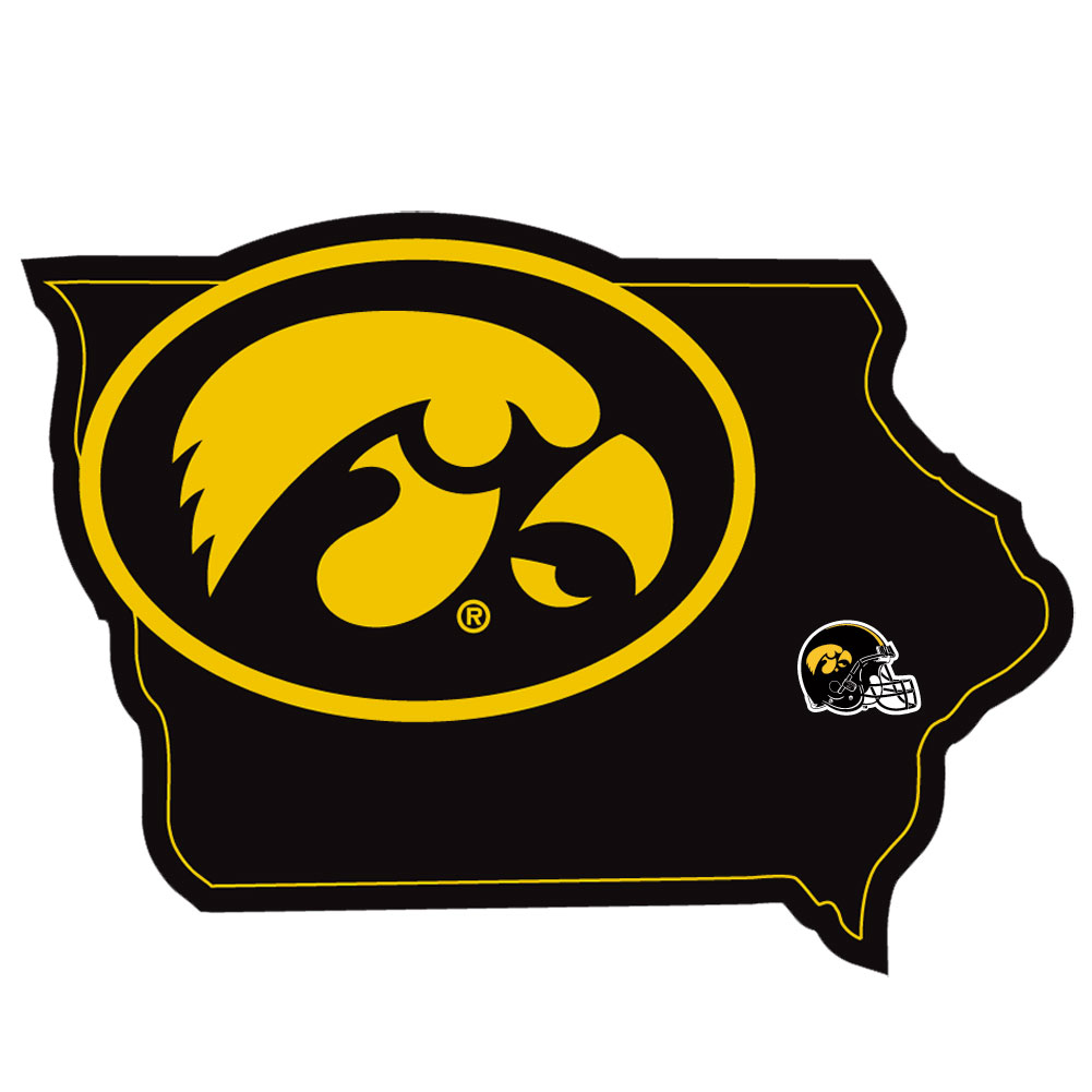 Iowa Hawkeyes Home State Decal - It's a home state decal with a sporty twist! This Iowa Hawkeyes decal feature the team logo over a silhouette of the state in team colors and a heart marking the home of the team. The decal is approximately 5 inches on repositionable vinyl.