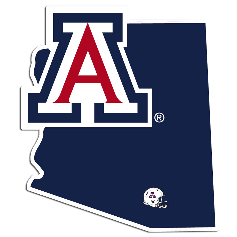 Arizona Wildcats Home State Decal - It's a home state decal with a sporty twist! This Arizona Wildcats decal feature the team logo over a silhouette of the state in team colors and a heart marking the home of the team. The decal is approximately 5 inches on repositionable vinyl.
