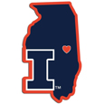 Illinois Fighting Illini Home State Decal - It's a home state decal with a sporty twist! This Illinois Fighting Illini decal feature the team logo over a silhouette of the state in team colors and a heart marking the home of the team. The decal is approximately 5 inches on repositionable vinyl.