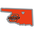 Oklahoma St. Cowboys Home State Decal - It's a home state decal with a sporty twist! This Oklahoma St. Cowboys decal feature the team logo over a silhouette of the state in team colors and a heart marking the home of the team. The decal is approximately 5 inches on repositionable vinyl.