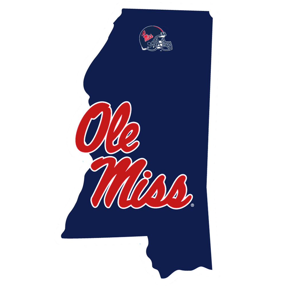 Mississippi Rebels Home State Decal - It's a home state decal with a sporty twist! This Mississippi Rebels decal feature the team logo over a silhouette of the state in team colors and a heart marking the home of the team. The decal is approximately 5 inches on repositionable vinyl.