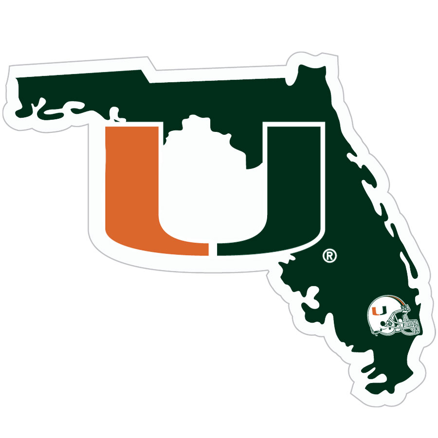Miami Hurricanes Home State Decal - It's a home state decal with a sporty twist! This Miami Hurricanes decal feature the team logo over a silhouette of the state in team colors and a heart marking the home of the team. The decal is approximately 5 inches on repositionable vinyl.