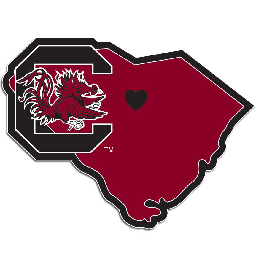 S. Carolina Gamecocks Home State Decal - It's a home state decal with a sporty twist! This S. Carolina Gamecocks decal feature the team logo over a silhouette of the state in team colors and a heart marking the home of the team. The decal is approximately 5 inches on repositionable vinyl.