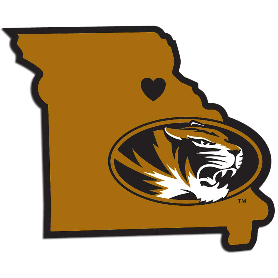 Missouri Tigers Home State Decal - It's a home state decal with a sporty twist! This Missouri Tigers decal feature the team logo over a silhouette of the state in team colors and a heart marking the home of the team. The decal is approximately 5 inches on repositionable vinyl.