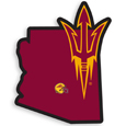Arizona St. Sun Devils Home State Decal - It's a home state decal with a sporty twist! This Arizona St. Sun Devils decal feature the team logo over a silhouette of the state in team colors and a heart marking the home of the team. The decal is approximately 5 inches on repositionable vinyl.