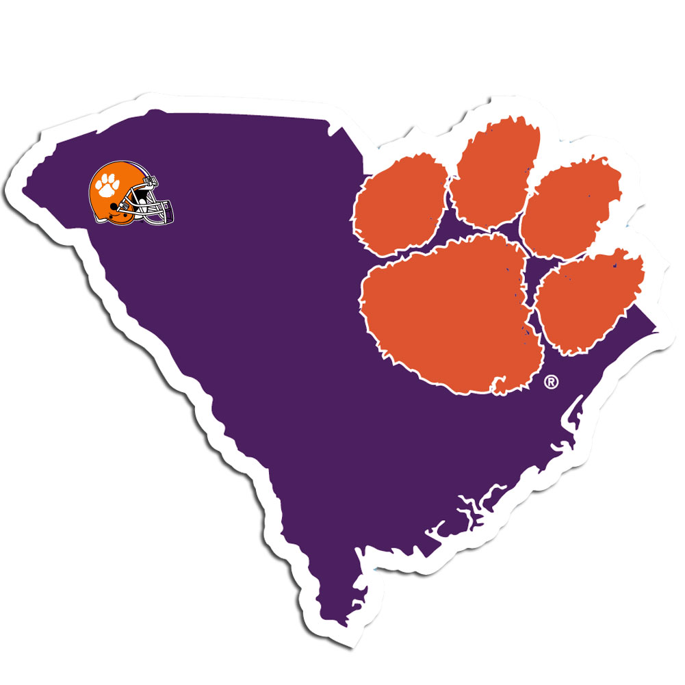 Clemson Tigers Home State Decal - It's a home state decal with a sporty twist! This Clemson Tigers decal feature the team logo over a silhouette of the state in team colors and a heart marking the home of the team. The decal is approximately 5 inches on repositionable vinyl.
