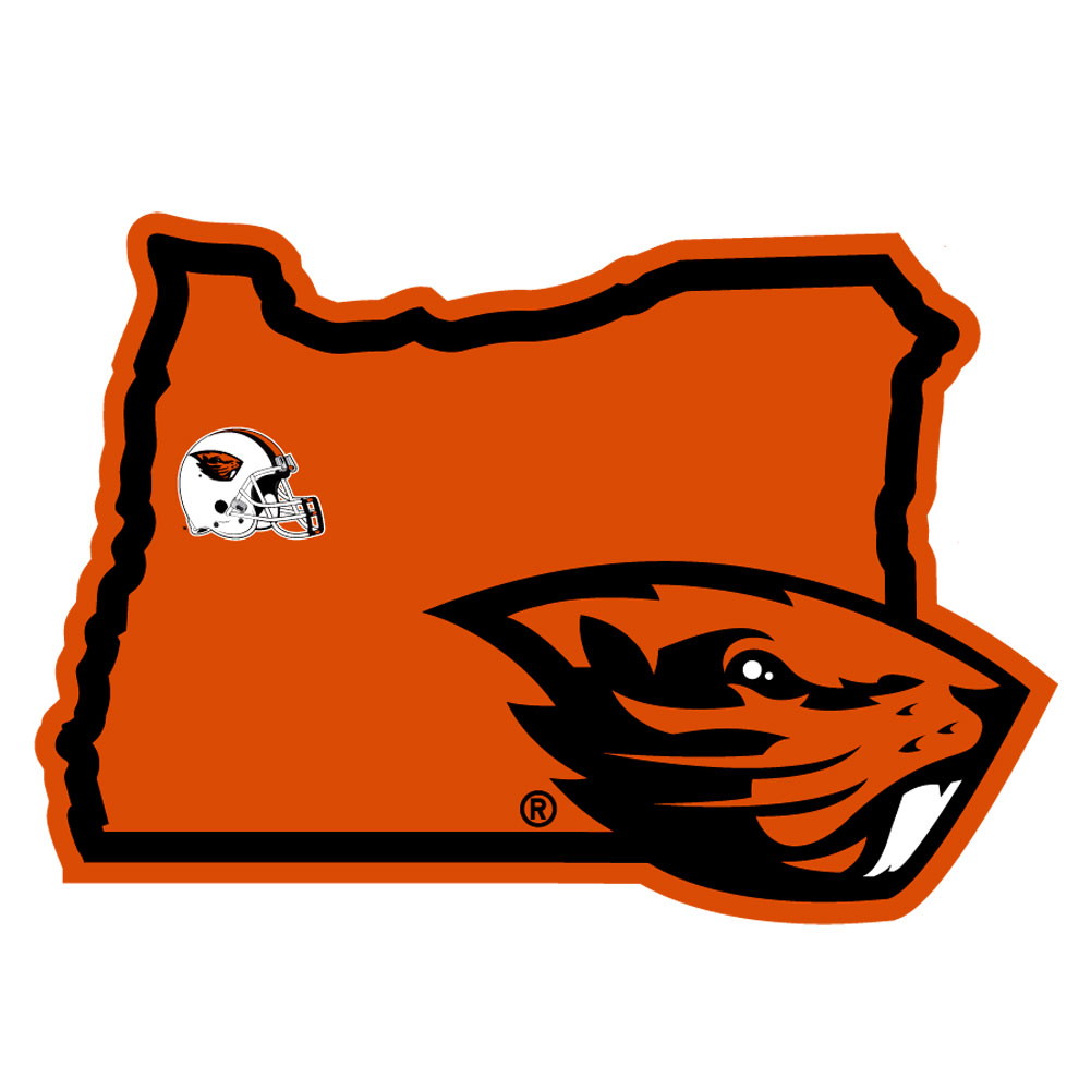 Oregon St. Beavers Home State Decal - It's a home state decal with a sporty twist! This Oregon St. Beavers decal feature the team logo over a silhouette of the state in team colors and a heart marking the home of the team. The decal is approximately 5 inches on repositionable vinyl.