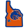 Boise St. Broncos Home State Decal - It's a home state decal with a sporty twist! This Boise St. Broncos decal feature the team logo over a silhouette of the state in team colors and a heart marking the home of the team. The decal is approximately 5 inches on repositionable vinyl.