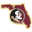 Florida St. Seminoles Home State Decal - It's a home state decal with a sporty twist! This Florida St. Seminoles decal feature the team logo over a silhouette of the state in team colors and a heart marking the home of the team. The decal is approximately 5 inches on repositionable vinyl.