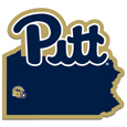PITT Panthers Home State Decal - It's a home state decal with a sporty twist! This PITT Panthers decal feature the team logo over a silhouette of the state in team colors and a heart marking the home of the team. The decal is approximately 5 inches on repositionable vinyl.