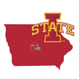 Iowa St. Cyclones Home State Decal - It's a home state decal with a sporty twist! This Iowa St. Cyclones decal feature the team logo over a silhouette of the state in team colors and a heart marking the home of the team. The decal is approximately 5 inches on repositionable vinyl.