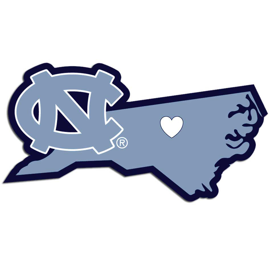 N. Carolina Tar Heels Home State Decal - It's a home state decal with a sporty twist! This N. Carolina Tar Heels decal feature the team logo over a silhouette of the state in team colors and a heart marking the home of the team. The decal is approximately 5 inches on repositionable vinyl.