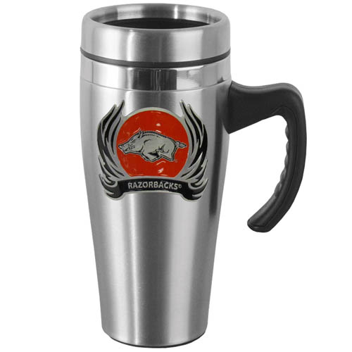 Arkansas Razorbacks Flame Steel Mug w/Handle - Show off your Arkansas Razorbacks school pride with this 14 oz stainless steel mug with brushed finish. The mug has a lid, handle and features a cast & enameled Arkansas Razorbacks emblem. Thank you for shopping with CrazedOutSports.com