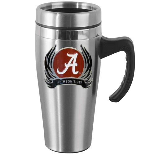 Alabama Crimson Tide Flame Steel Mug w/Handle - Show off your Alabama Crimson Tide school pride with this 14 oz stainless steel mug with brushed finish. The mug has a lid, handle and features a cast & enameled Alabama Crimson Tide emblem. Thank you for shopping with CrazedOutSports.com