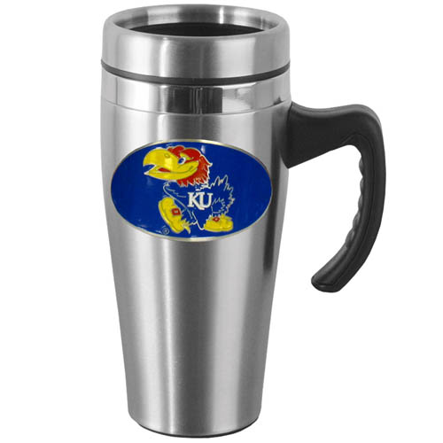 Kansas Jayhawks Steel Mug w/Handle - Show off your school pride with this Kansas Jayhawks 14 oz stainless steel mug with brushed finish. The mug has a lid, handle and features a cast & enameled Kansas Jayhawks emblem. Thank you for shopping with CrazedOutSports.com