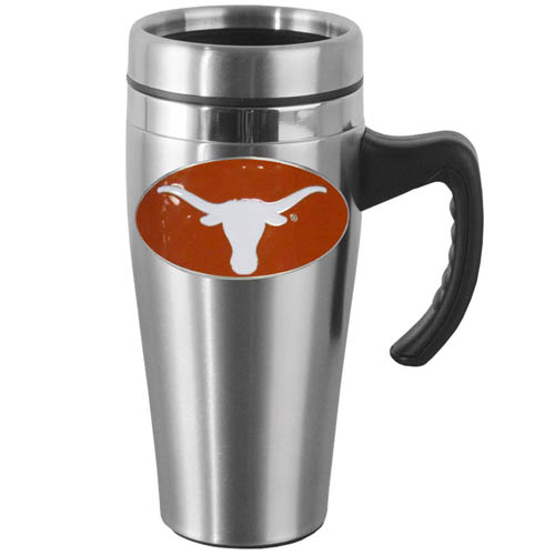 Texas Steel Mug w/Handle - Show off your school pride with this 14 oz stainless steel mug with brushed finish. The mug has a lid, handle and features a cast & enameled Texas Longhorns emblem. Thank you for shopping with CrazedOutSports.com