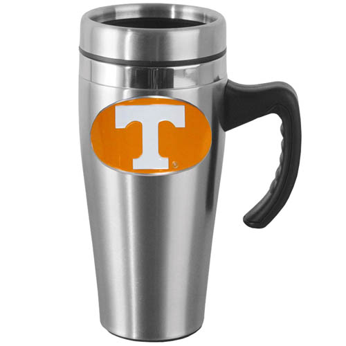 Tennessee Steel Mug w/Handle - Show off your school pride with this 14 oz stainless steel mug with brushed finish. The mug has a lid, handle and features a cast & enameled Tennessee Volunteers emblem. Thank you for shopping with CrazedOutSports.com