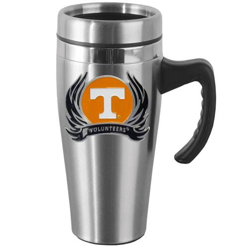 Tennessee Flame Steel Mug w/Handle - Show off your school pride with this 14 oz stainless steel mug with brushed finish. The mug has a lid, handle and features a cast & enameled Tennessee Volunteers emblem. Thank you for shopping with CrazedOutSports.com