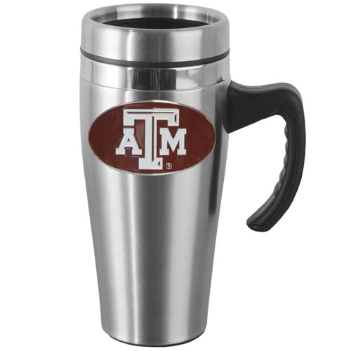 Texas A and M  Steel Mug w/Handle - Show off your school pride with this 14 oz stainless steel mug with brushed finish. The mug has a lid, handle and features a cast & enameled Texas A & M Aggies emblem. Thank you for shopping with CrazedOutSports.com