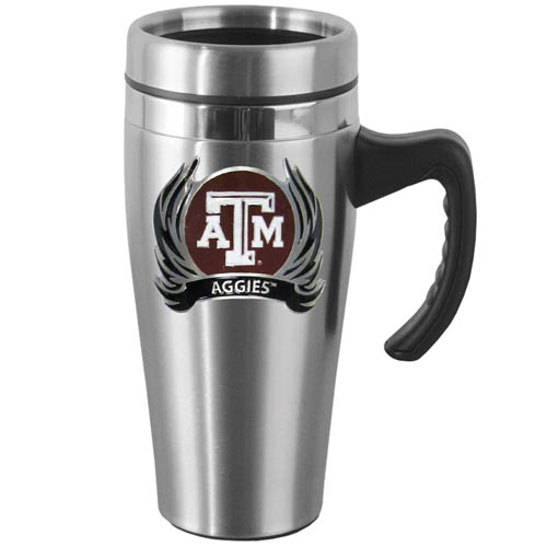 Texas AandM Flame Steel Mug w/Handle - Show off your school pride with this 14 oz stainless steel mug with brushed finish. The mug has a lid, handle and features a cast & enameled Texas A & M Aggies emblem. Thank you for shopping with CrazedOutSports.com