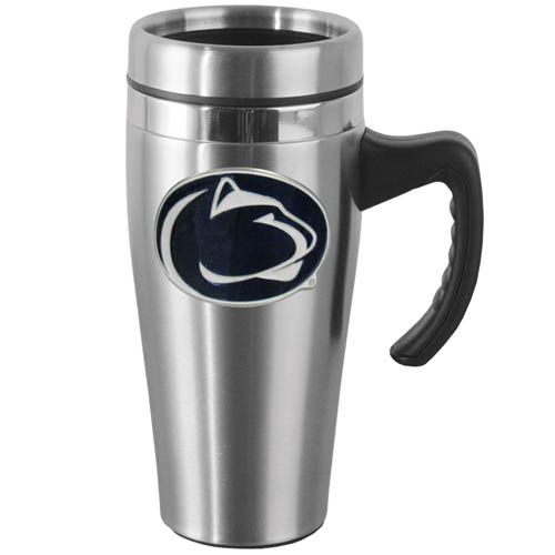 PENN St. Steel Mug w/Handle - Show off your school pride with this 14 oz stainless steel mug with brushed finish. The mug has a lid, handle and features a cast & enameled Penn St. Nittany Lions emblem. Thank you for shopping with CrazedOutSports.com